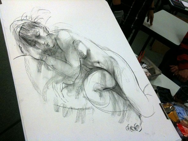 From the life drawing session at UWA, Perth