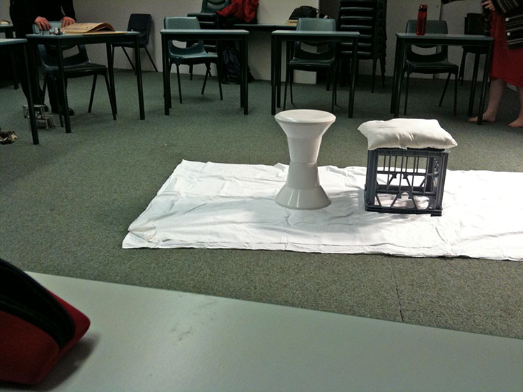 The room for life drawing session at UWA, Perth